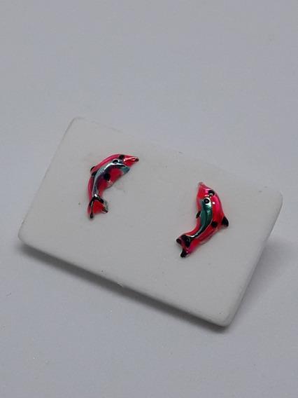 Par De Brincos Pequenos, Golfinhos, 0,5mm Infantil Prata 950