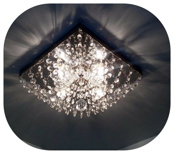 Lustre De Cristal Legitimo 30x30 Quadrado Ja Vai Montado