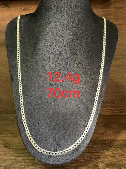 Colar De Prata Italiana 925 Modelo Groumet 12.4g 70cm
