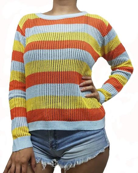 Sweater Calado Rayado Importado Para Mujer