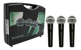 Kit C/ 3 Microfones Dinâmico Ls50k3 Preto Leson Cardióide