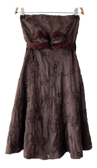 Vestido Fiesta Bordado Strapless Marca Española Lisin #roa
