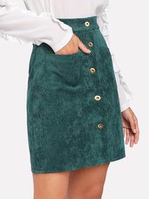 Mini Falda Verde Esmeralda Cotelé Botones Mujer Moda