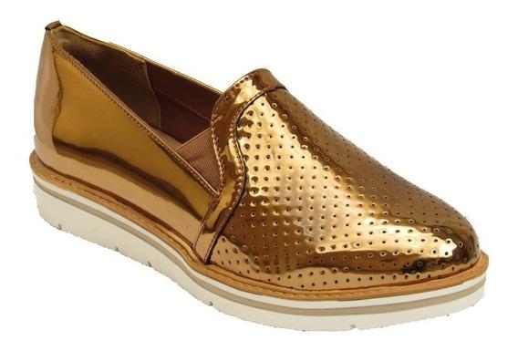 Sapato Via Marte Slip On 17-4604 - Bronze ,nova Coleção 20