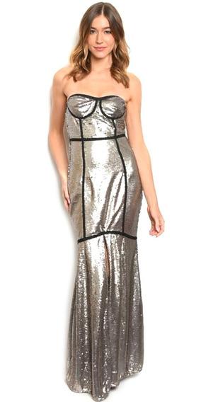 Vestido Largo De Noche Plata Lentejuela Strapless Elegante.