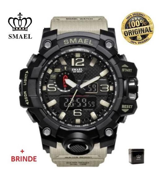 Relógio Esportivo G.chock Smael Mod1545 Bege Militar Tático