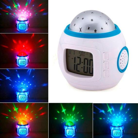 Reloj Despertador Digital Proyector Estrellas Musica Alarma