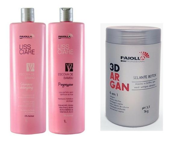 Kit Progressiva Bambu Paiolla 2x1000ml + Botox 3d 1kg Origi