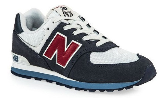 Zapatilla New Balance 574 Cn Azul Blan Bordo Kids Rcmdr