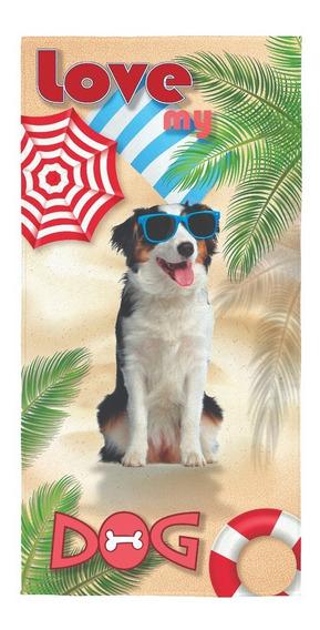 Toalha Aveludada Praia Piscina Estampada Lepper Love My Dog