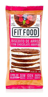 Biscoito De Arroz Fit Food Chocolate Amargo 70g
