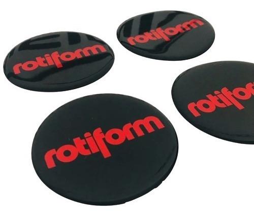 4 Emblema Roda Rotiform Resinado Poliéster 65mm Etiqueta