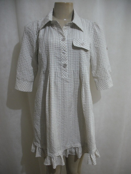 Vestido Xadrez Fashion Club M Branco Bege Usado Bom Estado