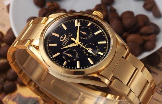 Relógio Clássico Chenxi Metal Dourado Masculino Frete Gratis