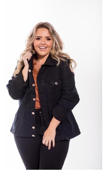 Jaqueta Jeans Preta Plus Size Feminina Lançamento 2019