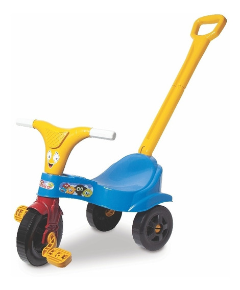 Triciclo Com Empurrador Motoca Infantil Azul Com Haste