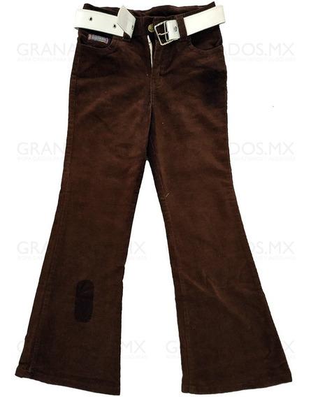 Pantalón Pana Niña Talla 8 Acampanado Bordado Cinturón