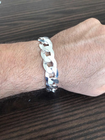 Pulseira Grossa Gg Prata 925 De Lei Diamantada Maciça Luxo