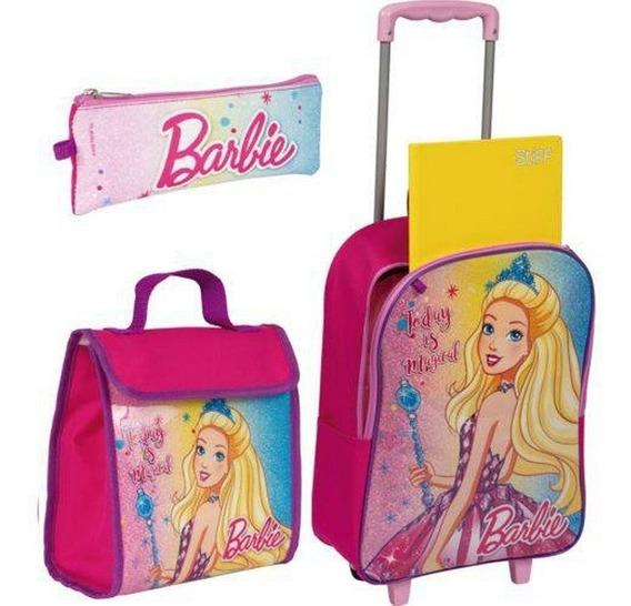 Kit Escolar Infantil Mochila Tam G Barbie Original Sestini