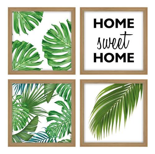 Quadro Decorativo Folhas Frases Sweet Home Botânico Costela