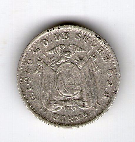 Ecuador Moneda De Plata 1915 ½ Decimo Km#55.2 Argentvs