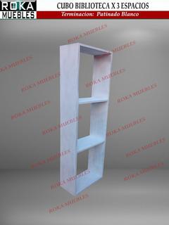 Cubo De Madera Biblioteca 40x20x120 X 3 Espacios Patinado