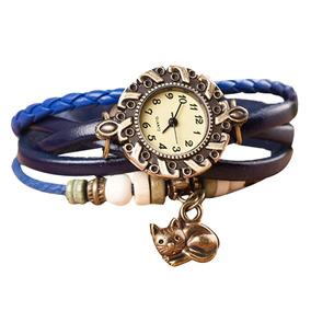 Relógio Feminino Pulseira De Couro Pingente Gato - Azul