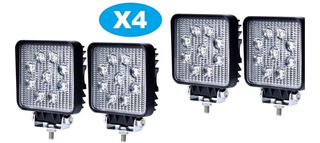 Pack 4 Foco Led Neblinero 27w Cuadrados 9 Led/ Technosouless