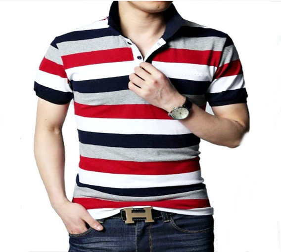 Kit 5 Camisas Polo Listra Listrada Masculina Varias Cores