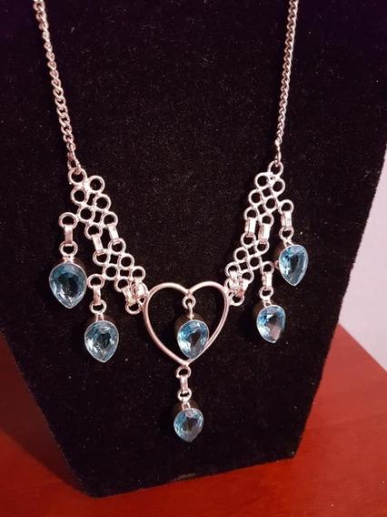 Maxi Colar Prata Pedras Cristais Cor Topázio Azul