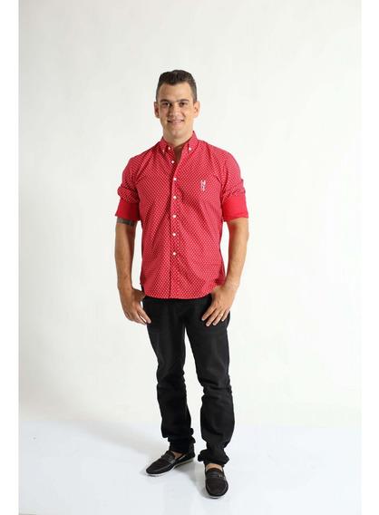 Camisa Social Merry Christimas Vermelha Adulta