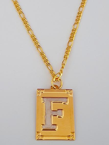 Cordão Corrente Masculino 60cm Letra F Folheado Ouro. C19f19