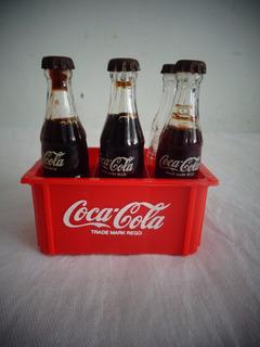 5 Coca Cola Miniatura Garrafa Engradado Americana