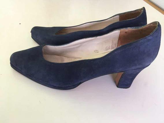 Zapatos Gamuzados Nro 38 Azules Taco 5,5 Cm