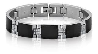Bracelete Pulseira Masculina Aço Detalhes Espelhado Preto