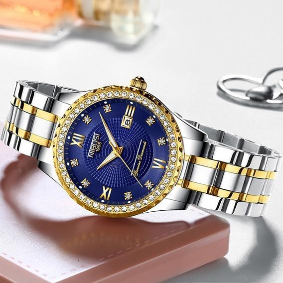 Relógio Nibosi Feminino Diamante Prata / Dourado Fundo Azul