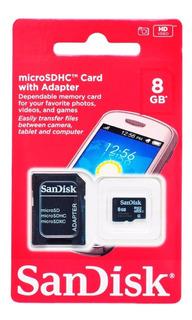 1 Cartão Memória Microsd Sandisk 8gb Lacrado Original - Mp3