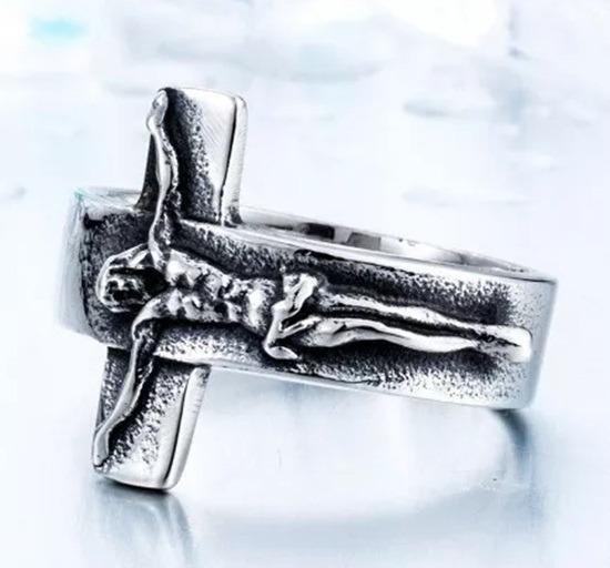 Anel Crucifixo Aço Inox 316 L Religioso Masculino Jesus