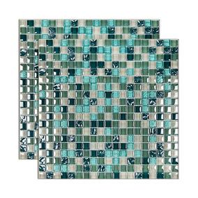 Pastilha De Vidro Galliano Placa 31x31cm Verde Glass Mosaic