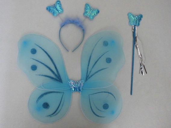 Set Alas Disfraz Mariposas Hadas Niñas Barita Cintillo 4verd