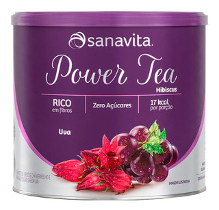 Power Tea Hibiscus 200g Fibra Prebiótica Uva Sanavita