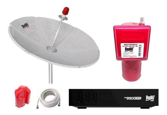 Antena Parabólica Bedinsat Chapa E Receptor Hd Bs9900 Multi