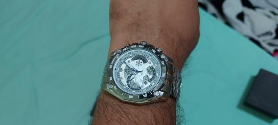 Relógio Zzr8547 Casio Edifice Prata Fundo Branco Lançamento