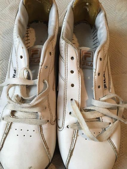 Impecables Zapatillas Fila Cuero Colegiales Blancas