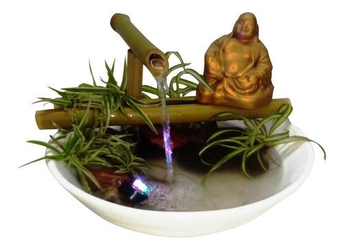 Fuente De Agua Buda Abundancia/ Descansando Luz Led Cañas