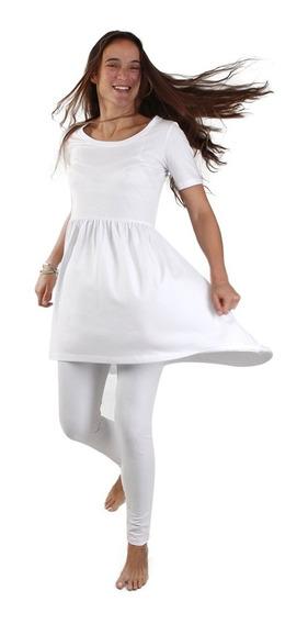 Kundalini Yoga 1 Vestido + 1 Calza Lycra Y Algodon Blanco