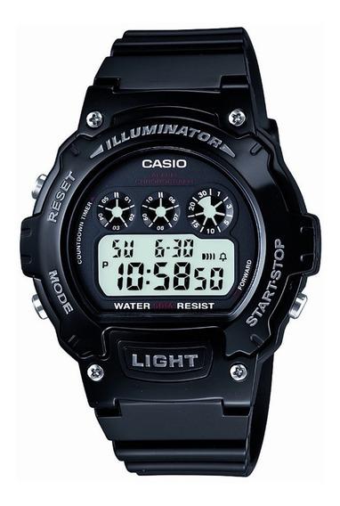 Relógio Casio Illuminator W-214hc-1avcf Preto Original