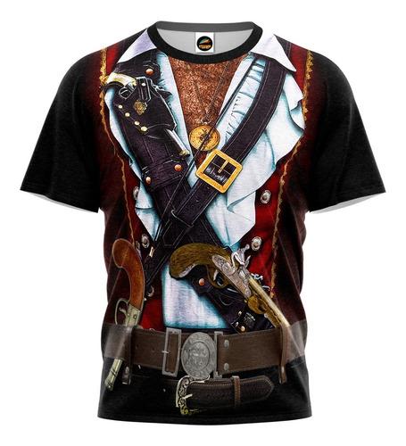 Camiseta Camisa Pirata 3d Uniforme Blusa Estampa Total M 012