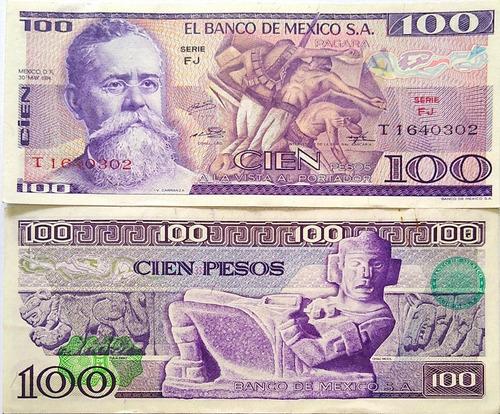 Imagen 1 de 1 de Billete Mexico 100 Pesos Fj 1974 Papel Moneda Au Sello Verde