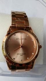 Relógio Feminino Dourado Atlantis Com Mostrador Dourado